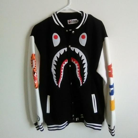 98644b9200dcda Bape Other - Bape shark letterman jacket